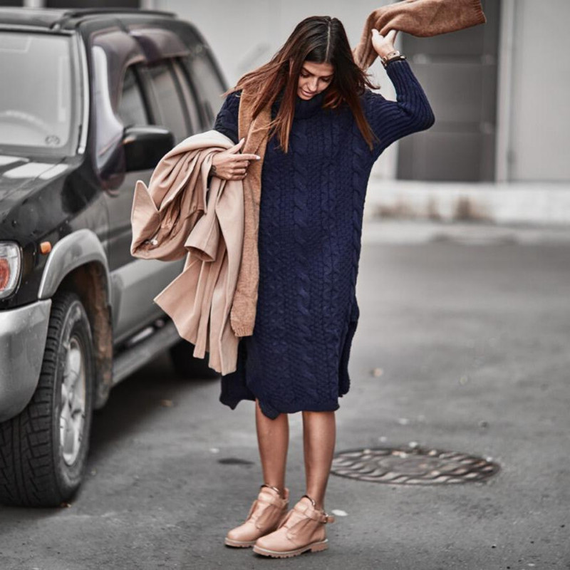 Autumn Winter Women Sweater Long Dress Knitting Thick Maternity Wool Clothes Pregnancy Clothing One Size Pregnant Fashion Dress maternity sweater autumn and winter maternity clothing plus size long sleeve sweater one piece dress pullover knitted