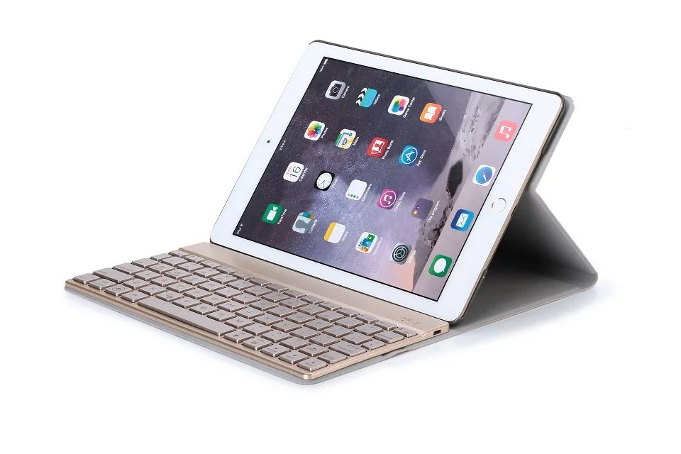 New Seven-color Backlight Russian/Hebrew/Spanish Wireless Bluetooth Keyboard & Leather Cover Case For Apple IPad Air2 Ipad 6 russian hebrew spanish removable wireless bluetooth keyboard stand pu leather case for apple ipad 9 7 2017 pro 9 7 air air2