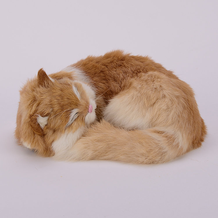Nuova simulazione sleeping cat realistica creativa giallo cat regalo 25x20x11 cm