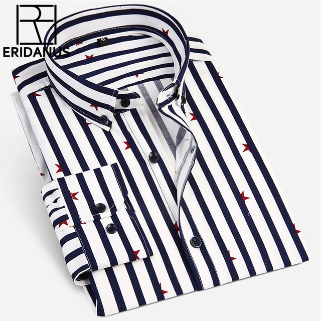 ERIDANUS Fashion New 2017 Men Long Sleeve Shirts Male Striped Classic-fit Comfort Soft Cotton Casual Button-Down Shirt M486