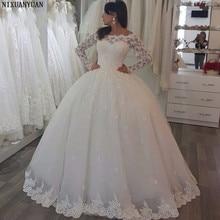 فستان زفاف أنيق بأكمام طويلة من الدانتيل من التل بطول الأرض ، فساتين زفاف العروس من Vestidos De Noiva مصنوعة حسب الطلب