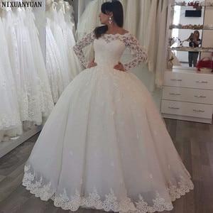 Image 1 - Элегантное кружевное бальное платье с длинным рукавом, тюлевые Свадебные платья до пола для невесты, пошив на заказ