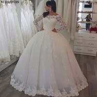 Elegant Long Sleeve Lace Ball Gown Tulle Floor Length Bride Wedding Dresses Vestidos De Noiva Custom Made