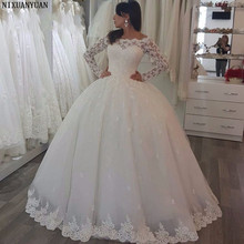 Thanh lịch Dài Tay Áo Ren Bóng Gown Tulle Tầng Length Cô Dâu Wedding Dresses Vestidos De Noiva Tùy Chỉnh Thực Hiện