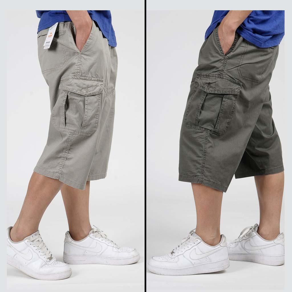 86 military summer men baggy cargo cotton knee length pant casual trouser male large loose big size khaki xxl 3xl 4xl 5xl 6xl