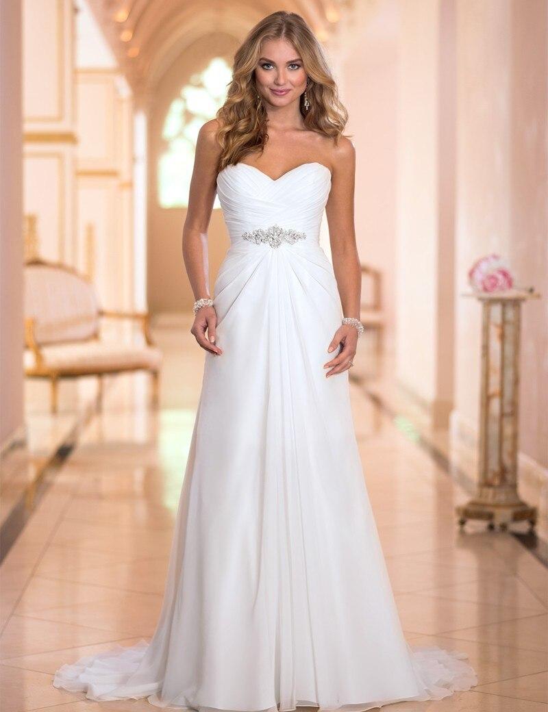 robe de mariee Summer Boho Strapless Chiffon Dresses for Wedding Party with Crystal Princess Bride Dresses Vestido de casamento