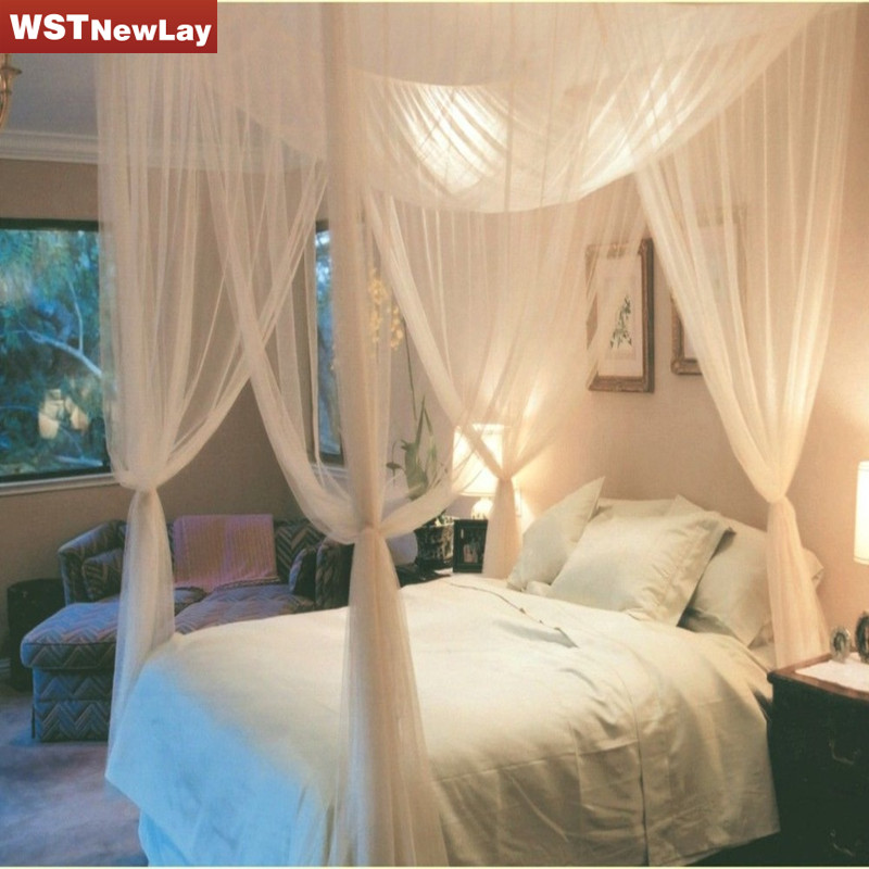2016 four corner post bed white canopy mosquito net full for Lit queen size taille