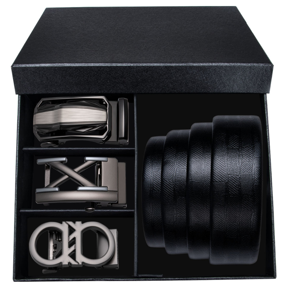 Fashion Leather Mens   Belt   Ratchet Dress Male   Belt   with 3PCS Buckle Automatic buckle Mens   Belts   3 Colors Strap For Men With Box