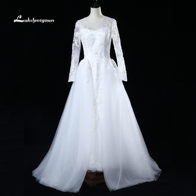 robe de marriage Long Sleeves Overskirt Wedding Dresses 2017 Cristal Beading Court Train Wedding Gowns abiti da sposa Custom