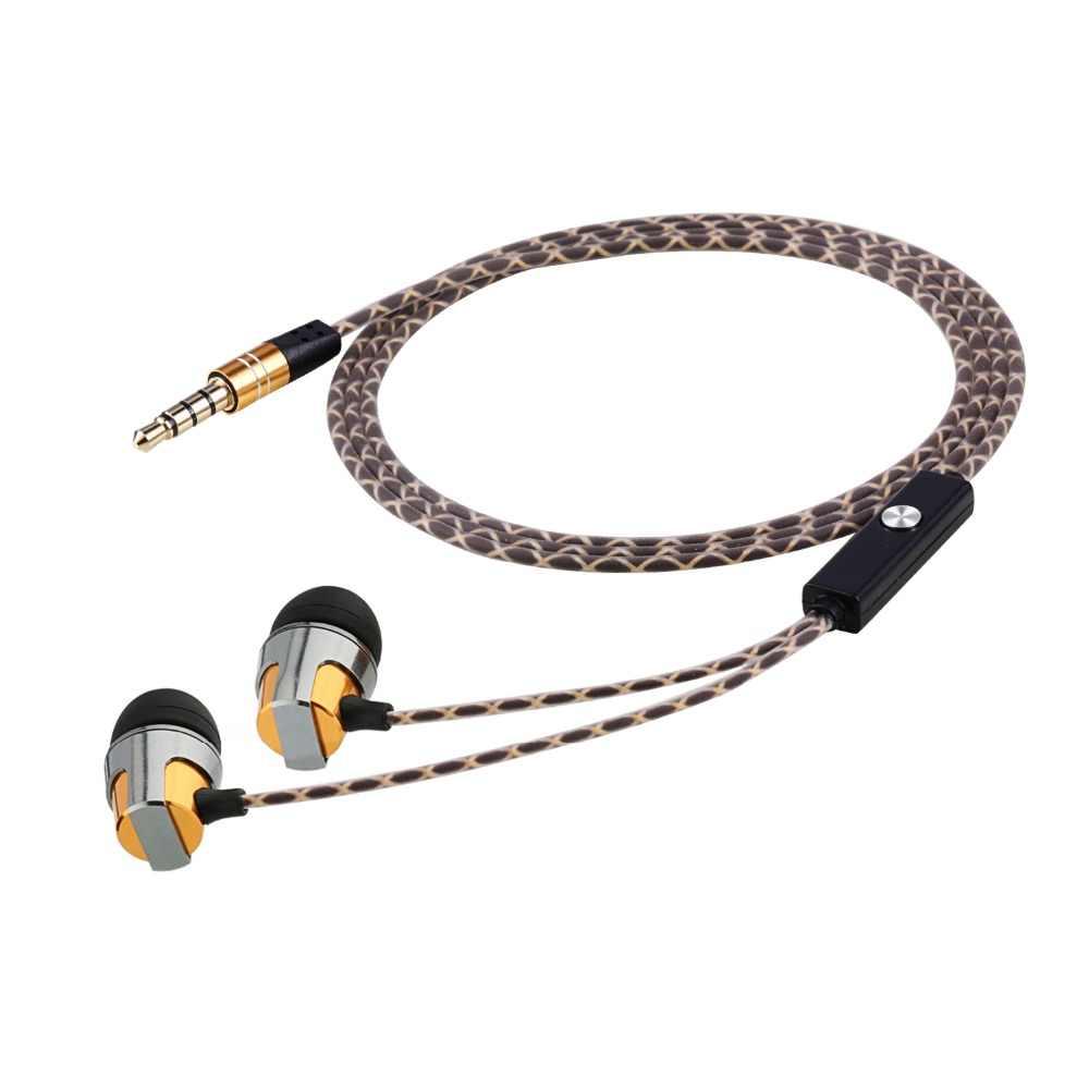Алюминиевые наушники с микрофоном высокого стерео аудио звука с сильным басом для смартфона золотого цвета со змеиным кабелем