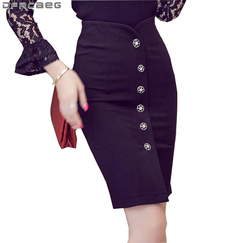 4XL 5XL Plus Size Women's Office Pencil Skirt 2018 Spring Fashion Ladies High Waist Bodycon Skirts Knee Length Saia Longa Red