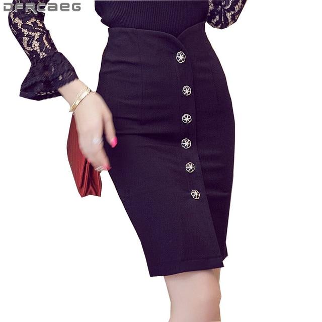 US $12.0 25% OFF|4XL 5XL Plus Size Women\'s Office Pencil Skirt 2018 Spring  Fashion Ladies High Waist Bodycon Skirts Knee Length Saia Longa Red-in ...