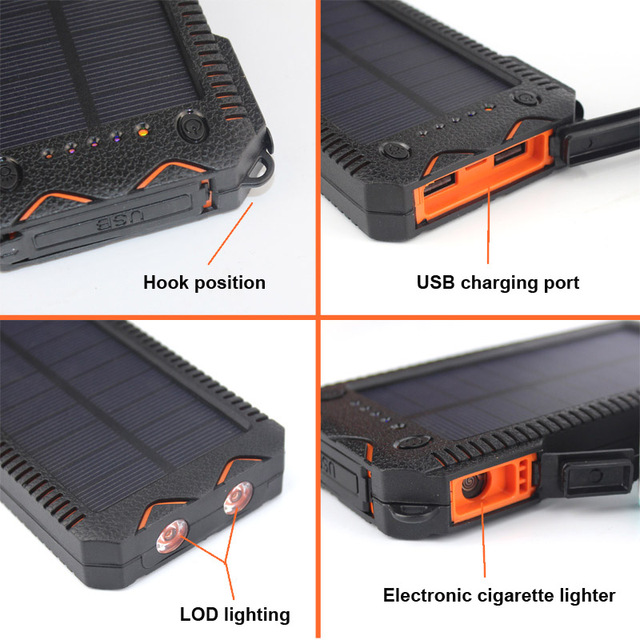 New Waterproof Solar Power Bank 12000 mah Dual USB Carregador de Bateria Solar Com Lanterna LED SOS de isqueiro para smartphone