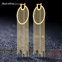 ANFASNI New Arrival 925 Sterling Silver Luxury Tassel Earrings Gold Color Brilliant Cut Cubic Zirconia Long