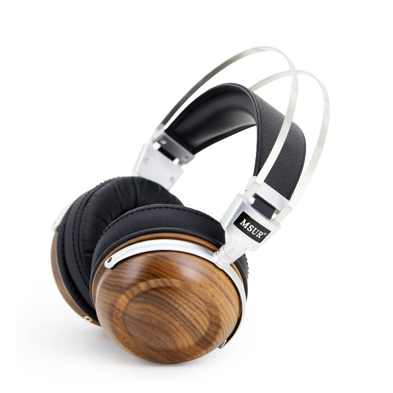 Original MSUR N550 HiFi Wooden Metal Headphone Earphone With Beryllium Alloy Driver With Protein Leather Support Music Headsets
