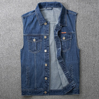 2019 summer thin section denim vest male Korean version of the sleeveless loose large size jacket shirt gilet Chinese Style Blue