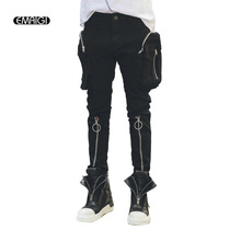 Reißverschluss Tasche Männer Casual Hosen High Street Fashion Hip Hop Slim Fit Harem Hose Herren Stiefel Hosen