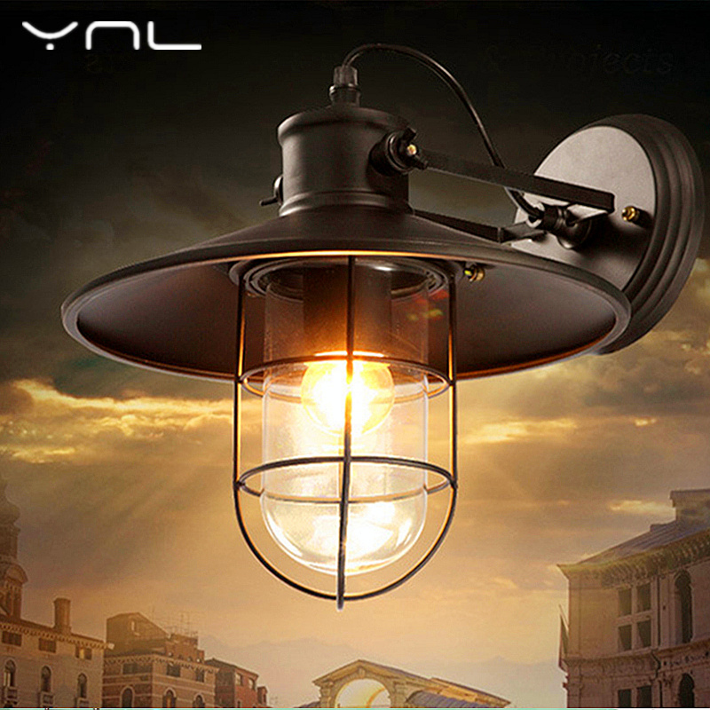 YNL Vintage Wall Lamp E27 outdoor Corridor Lamp Glass Iron Painted Loft Industrial LED Wall Light home Lighting Restaurant Bar colorful glass bowknot led corridor loft bedroom bar ceiling light lamp droplight cafe bar hall store restaurant decor