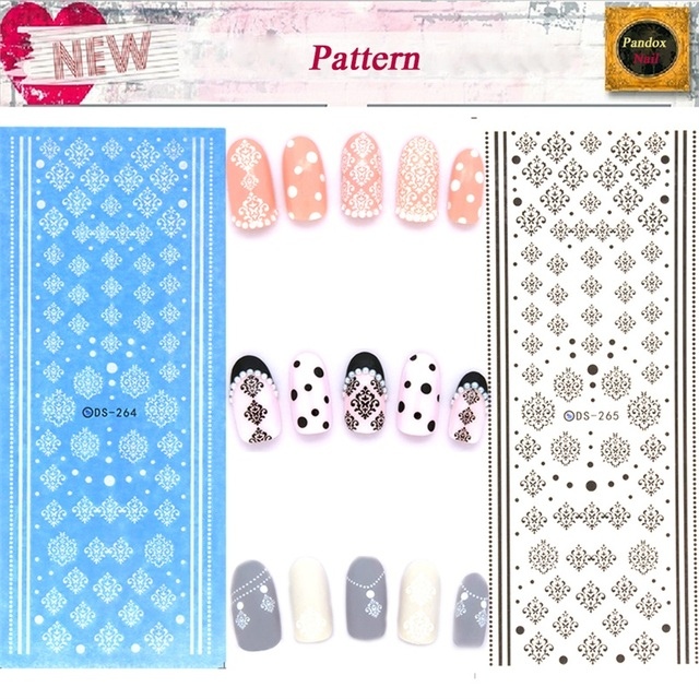 ds264 ds265 water transfer nails art sticker winter style white snowflake nail wraps sticker watermark fingernails