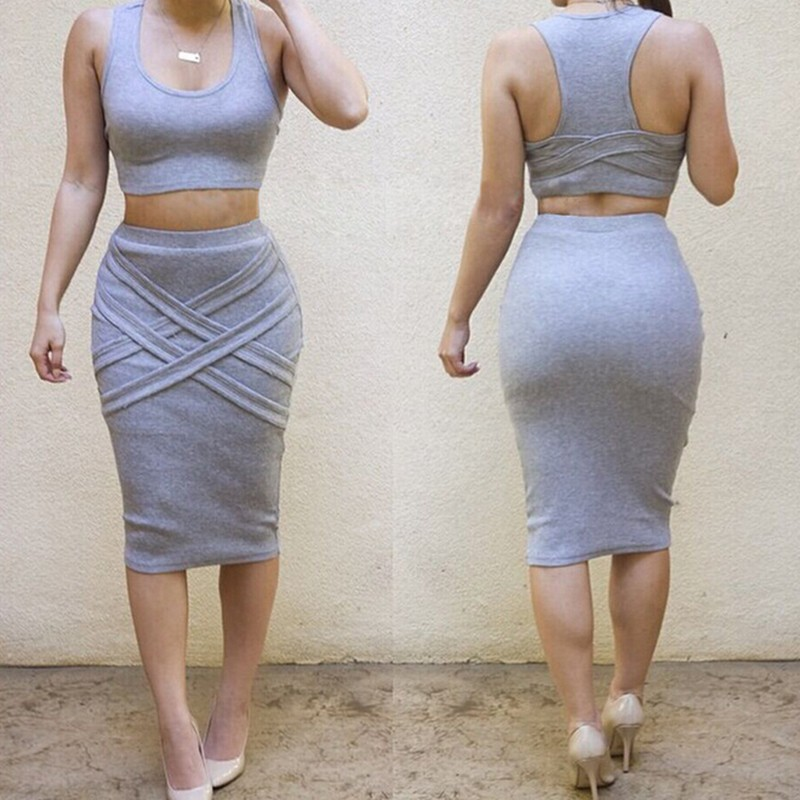 2016 Fashion Women Summer Sets 2 Pieces Club Dress Set Female O Neck Crop Tops & Skirt New Sexy Strapless Women\'s Clothes Suit (20)