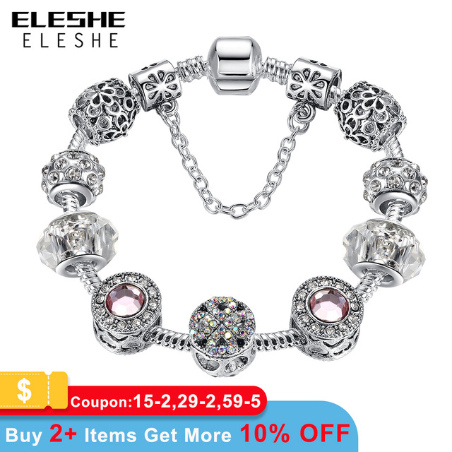 Original Silver Plated Crystal Four Leaf Clover Bracelet with Murano Glass Beads Charm Bracelet Bangle for Women DIY 925 Jewelry