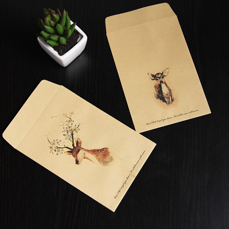 50pcs/set Paper Envelopes Vintage Brown Template Cute Deer