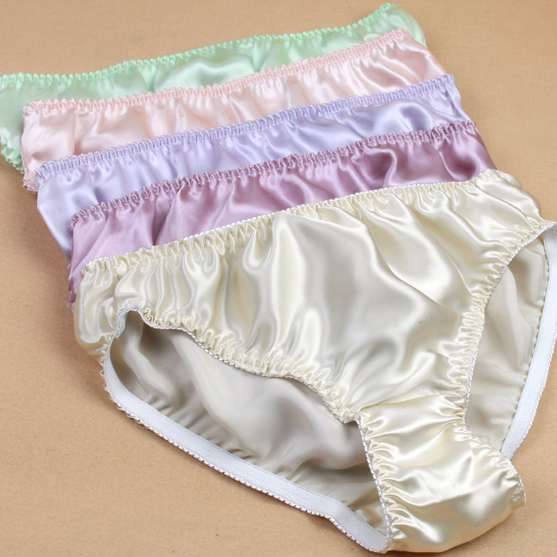 3pcs/lot Mid waist glossy solid color mulberry silk panties female breathable comfortable antibiotic silk briefs