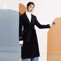 FANSILANEN 2017 New Arrival Fashion Autumn Winter Solid Black Casual Long Wool Cashmere Coat Woolen Women