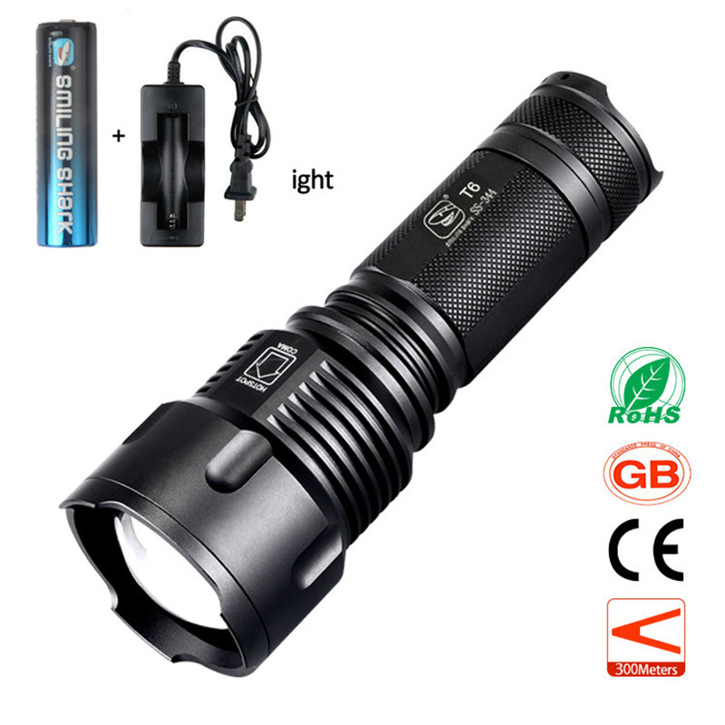 High Quality 1000 Lumen CREE T6 LED Tactical Torch Zoomable Flashlight with 18650 Rechargeable Battery and Charger 2015 h1 led cree high lumen 30w 3000lm 6000k no need fan
