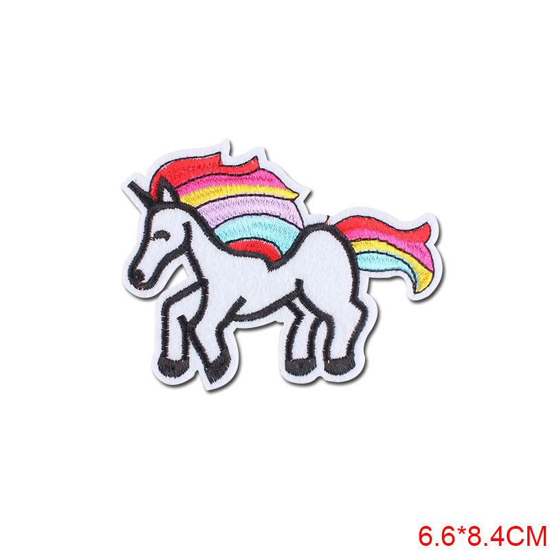 Cartoon Unicorn Patches Flower Stickers Diy Iron on Clothes Heat Transfer Applique Embroidered Patch Applications Cloth Fabric in Patches from Home Garden