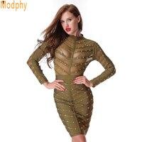 2016 Fashion Vestidos Celebrity Elastic Full Sleeve Women Sexy Mesh See Through Beading Bandage Dress Party