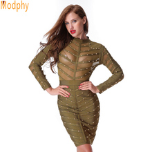 2019 New Women Evening Party Bandage Dress Stretch Mesh Knee-length Long Sleeve Summer Dresses Celebrity Bodycon Dress HL512