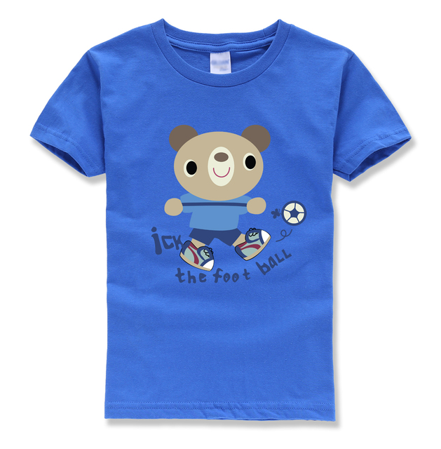caute animal bear printing short sleeve baby girl clothes short sleeve pullovers o neck casual kids t-shirts funny t shirt kid