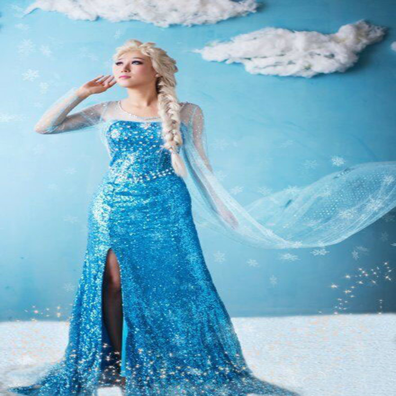 Free shipping Factory direct sale adult Cosplay Cartoon Halloween FROZEN special wedding dress stage performance dress for women