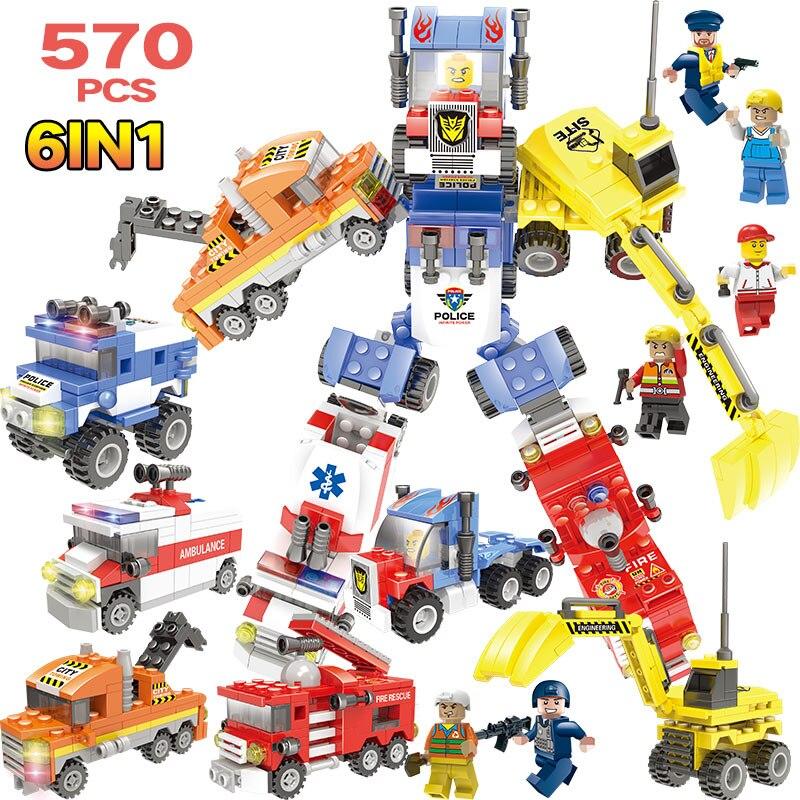 570 Piezas Transformado Robot 8 In1 Bloques De Construcción Legoingly De La Policía Militar Coche Ambulancia Ingeniería Cifras Ladrillos Juguetes Tiempo Puntual