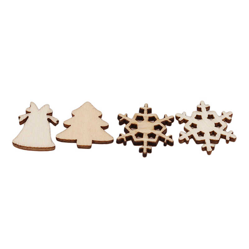 Снежинка звезда 100 шт Санта Клаус сапоги колокольчики Рождественская елка Висячие деревянные украшения вечерние рождественские украшения