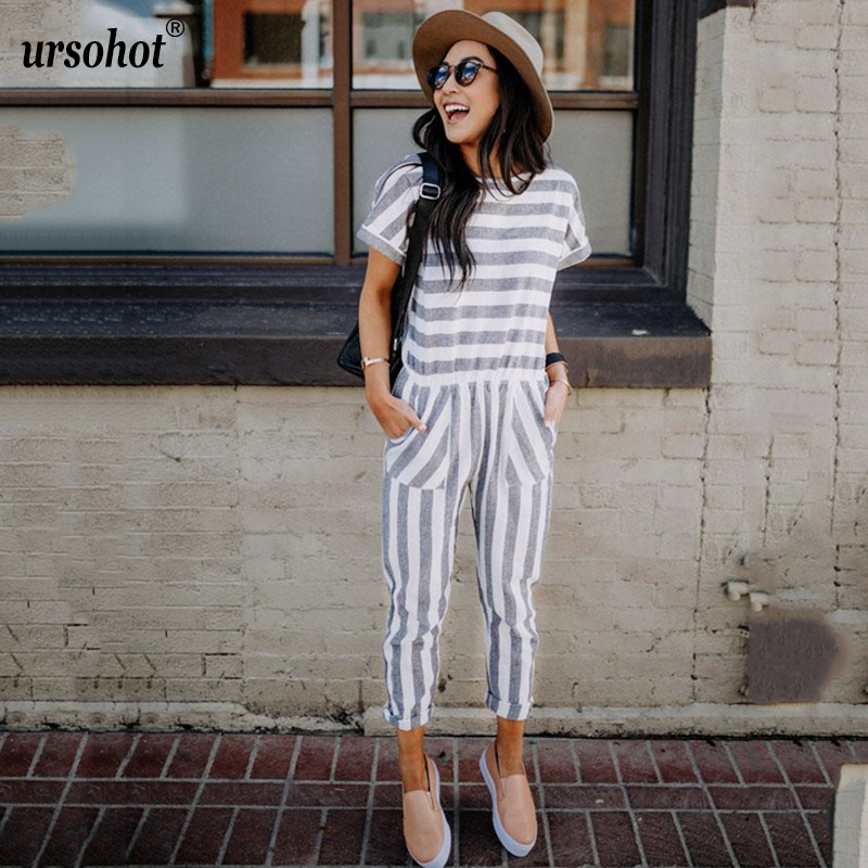 Ursohot Casual O Neck Striped Jumpsuit Pocket Elastic Waist Long Playsuit Short Sleeve Sexy Rompers Summer Overalls For Women-in Jumpsuits from Women's Clothing