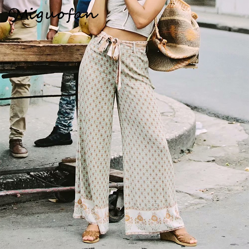 Miguofan Flower Print Long Pants Trouser Women Sashes Bohemian Loose High Waist Boho Pants Female 2019 Summer Beach
