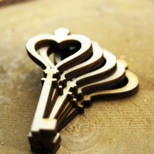 10pcs Wooden Key Shape Decoration Party Wedding Chrismas Decor Classic Handmade Wood Carved Lock Key Scrapbooking Favors