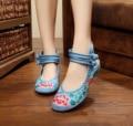 Новые Приходят Китайский Вышивка Квартиры Старый Пекин вышитые холст цветочные обувь Традиционные танцевальные одиночные размер ботинок 34-41