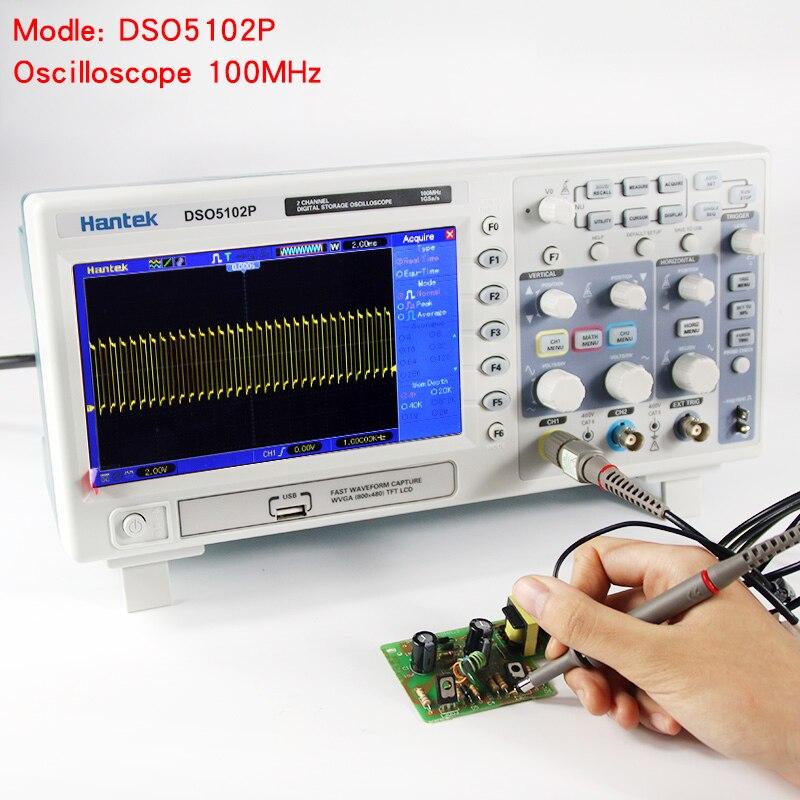 Hantek DSO5102P Digital Oscilloscope Portable 100MHz 2Channels 1GSas Record Length 40K USB LCD Handheld Osciloscopio 7 Inch dso 150 2 0 lcd usb dual channel oscilloscope