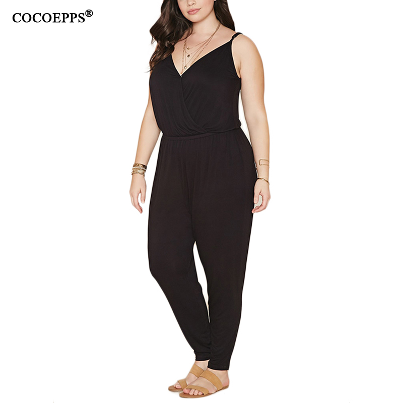 Rompers Womens   Jumpsuit   2019 Summer Style Rompers Womens   Jumpsuit   Solid Plus Size Women Clothing 4XL 5XL 6XL Combinaison femme