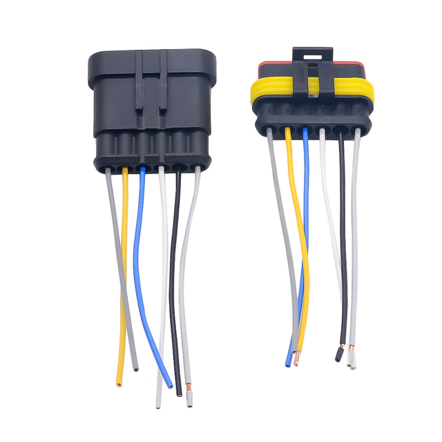 1 2 3 4 5 6 Way 1P 2P 3P 4P 5P 1.5 Kit Auto Connector Male & Female Waterproof Electrical Plug with 14AWG Cable Wire Harness 5