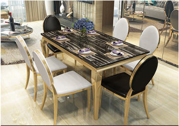 Stainless steel Dining Room Set Home Furniture minimalist modern marble dining table and 6 chairs mesa de jantar muebles comedor jantar для волос