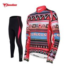 Tasdan Women Cycling Jersey Spring Set Long Sleeve Winter Thermal Fleece Wear Clothings Bicycle Sports