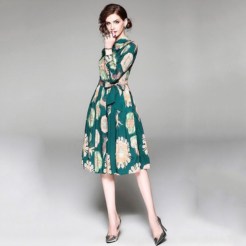Nouveau 2019 Piste Genou Longueur Robe Verte de Femmes à manches longues Élégant Vintage Robe Imprimé Floral Turn-down Col Robe