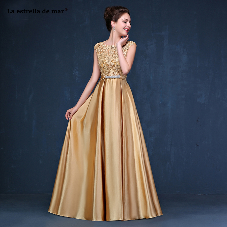 Vestido para madrinha2018 new top lace cap sleeve back open a L ine gold royal blue burgundy pink   bridesmaid     dresses   long cheap