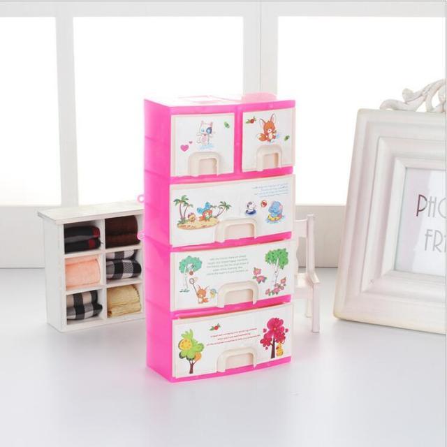 armoire barbie doll Wardrobe Storage Cabinet Lockers For Barbie Dolls Accessories Princess Bedroom Drawer Locker