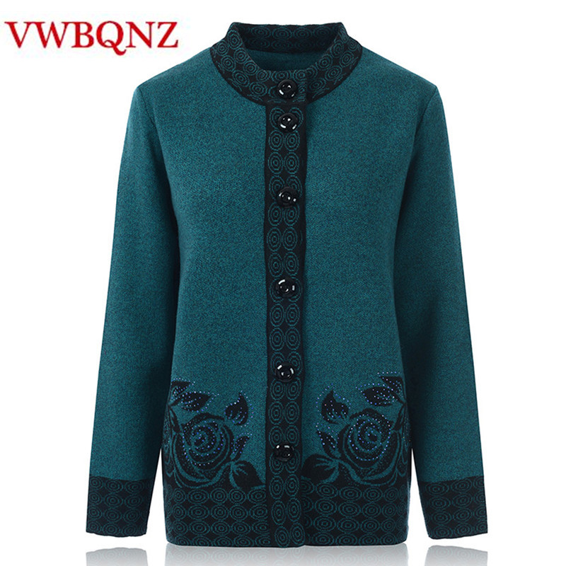 Middle-aged Old Women Knitwear Cardigan Autumn Winter Loose Big Size Warm Sweater Single-breasted Female Knit Casual Clothes 7XL