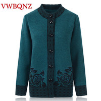 Middle aged old women knitwear cardigan autumn winter loose big size warm sweater single breasted female knit Casual clothes 6XL